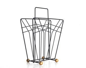 Mid Century Metal Magazine Rack - Black and Gold