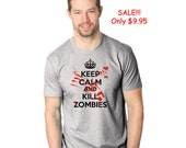 SALE Mens Keep Calm And Kill Zombies T-Shirt Dicount, spooky, zombie apocalypse, walking, undead, duty, dead, horror, boyfriend gift S-5XL