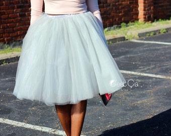 Clarisa - Dove Gray Tulle Skirt, Puffy Tulle Skirt, Silver Princess Tutu, Midi Tulle Skirt, Plus Size Tulle Skirt