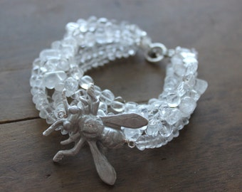 Bee Bracelet Multistrand Quartz Crystal Bracelet with Handcrafted Polymer Clay Bee