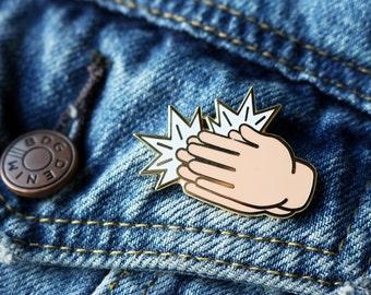 Slow Clap Enamel Pin - Clap Emoji Pin