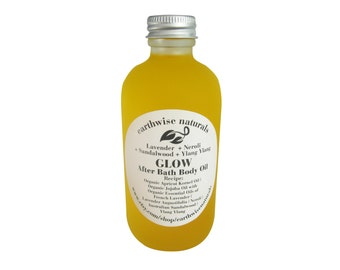 GLOW - After Bath Oil with Organic Apricot Kernel & Jojoba Oil | Aromatherapy Whole Body Moisturizer | 4 Ounces