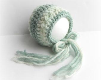 Crochet Bonnet, Knit Bonnet, Baby Bonnet, Newborn Bonnet, Newborn Hat, Baby Hat, Ready to Ship Hat