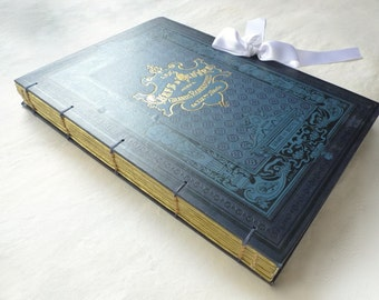 Wedding Photo Guest Book, Blue Scrapbook Anniversary Journal, Marriage, Honeymoon Keepsake Personalized, Extra Large