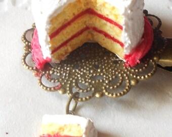 Cake Alligator hair clip - handmade miniature polymer clay food jewelry
