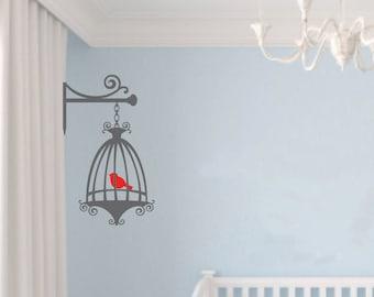 Birds Cage, Vinyl Wall Decal, Girls Room Decor, Birdcage Decal, Bedroom Decor, Living Room Decoration, Wall Sticker, Bird Decal ID20 [p]
