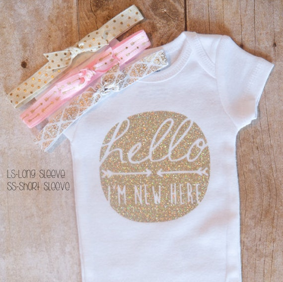 hello i m new here set with headbands cute baby outfit coming home