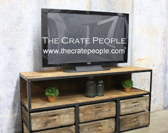 Reclaimed 100+ yr old Barn Wood & Wood Crates | 6  Drawer TV Console | Custom Furniture