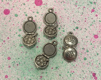 Makeup Compact Charms -4 pieces-(Antique Pewter Silver Finish)