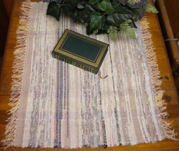Hand Woven Rag Rug Up-cycled Fabric Throw Rugs Vintage Rag