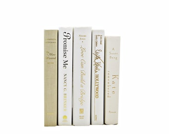 Ivory Gold Books, White Wedding Decor, Decorative Books, Table Settings, Centerpiece, Book Collection Set,  Photo Props, Home Decor, beige