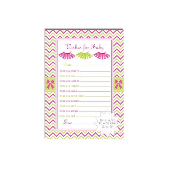 Tutu Baby Wish Card Baby Girl Well Wishes Card Ballerina Advice Card