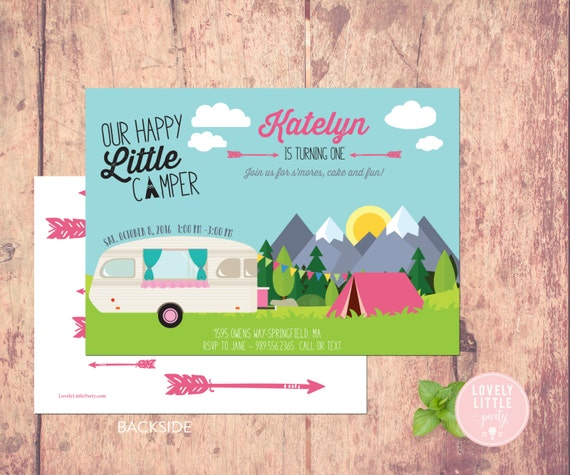 Happy Little Camper Invitation, Little Camper Birthday, Camping theme Birthday Girl, Lovely Little Party