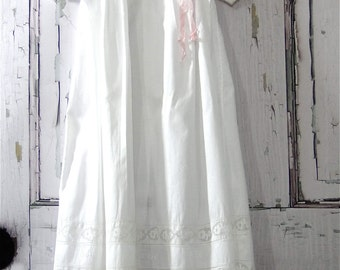 Heirloom Baby Christening Dress White Baptism Matching Slip Hand Embroidered Vintage 1930's