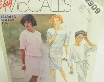 McCall's 2909  Misses' Dress, Stretch Knits Only, Easy, Sizes 10 - 14, Uncut, Facttory Fold, Overlock Serger Sewing, Learn to Sew, 7 Pieces