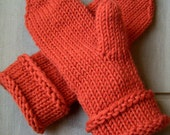 Aron -Mens chunky knit mittens Handknitted Warm Cozy Chunky wool yarn Mittens mitts Soft orange Winter gift idea Rustic Handmade in Finland