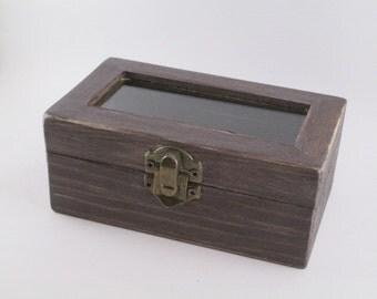 Double Ring Bearer Box Rustic Wedding Box Patinated Weathered Driftwood Box