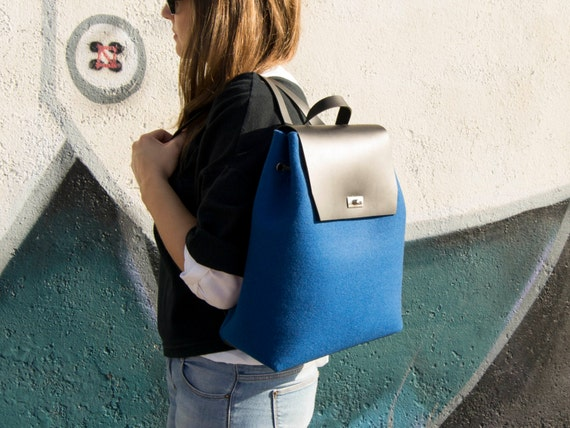 30% OFF - Felt and leather women's BACKPACK / blue backpack / felt backpack / satchel backpack / wool felt / womens backpack