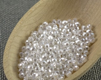 3mm beads 70pc Fire polished beads 3mm faceted beads Czech beads 3mm round beads glass beads White pearl beads 3mm pearl beads