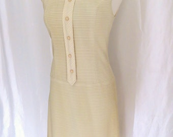 Vintage 60s womens dress, summer dress, pastel yellow dress, sleeveless dress