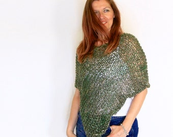 Green poncho, loose knit poncho, scallop poncho, wrap sweater, handknit wrap, light poncho, Eudora Scallop, ready to ship