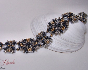 "Beading Tutorial Super Duo Bead Pattern ""Midnight Metallica"" Bracelet PDF format INSTANT Download"