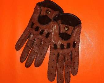 Vintage Brown Leather Driving Gloves Womens Two Tone Soft Leather Gloves Otto Kessler High Quality German Made Rockabilly Mod sz 6