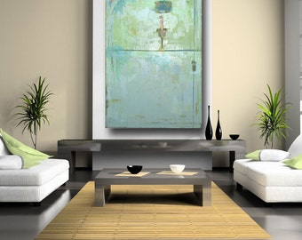 Fine Art Painting Custom Art Made to Order Large Abstract Huge Wall Art 60 x 40 Blue Green Seafoam Pastel on Canvas Original Acrylic Art