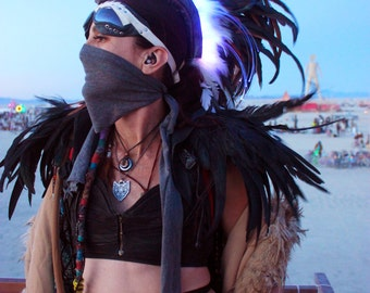 Warrior Feather Mohawk / Headdress - LED, Lightup Festival Wear, Burning Man, Headdress, Fantasy, Cosplay, Rave