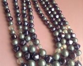 RESERVED for Silvie 50's Purple Four Strand Necklace, glass beads, purple, Deco, original 50s, mid century, egst, Greece