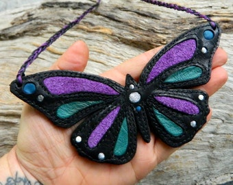 RESERVED Butterfly Chest Piece Statement Necklace Purple Blue and Silver Eco Friendly Butterfly Totem Animal Necklace