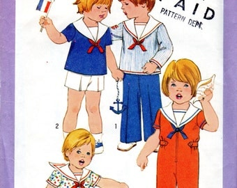 """1970s Toddler Boys & Girls' Sailor Jumpsuit, Romper, Top, Pants and Shorts Pattern- Size 2, 2T, Breast 21"""" - Simplicity 8376 uncut"""