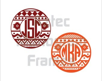 SVG Files  |  Aztec Monogram Frames SVG, Aztec Pattern svg, Circle Monogram Frames  |   Not For CRICUT
