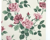 REMNANT of Vintage Wallpaper, Single 36 Inch Piece - Segmant of Floral Wallpaper with Pink Roses and Green Leaves on White