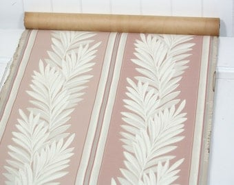 Partial Roll of Vintage Wallpaper - Botanical Wallpaper Stripe with White Fern Fronds on Pink, 10 yard roll