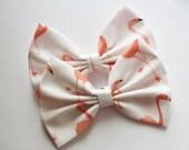NEW - Flamingo Hair Bow - Flamingo Print Hair Bow with Clip