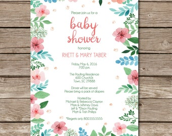 Floral Flower Baby Shower Invitation Baby Girl Baby Boy Party Digital or Print Custom Made to Order