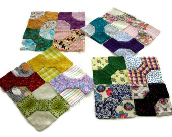 """Miniature Bowtie Quilt Blocks, Multicolor (II) Blocks Hand-Pieced From 20th Century Fabric, Finished Size 3 3/4""""(9.5cm), Free US Shipping"""