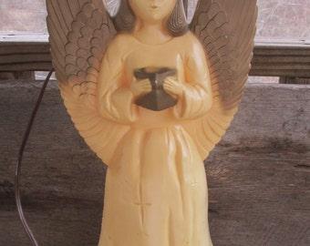 Vintage Lighted Blow Mold Angel, Christmas Angel, Hard Plastic Angel,