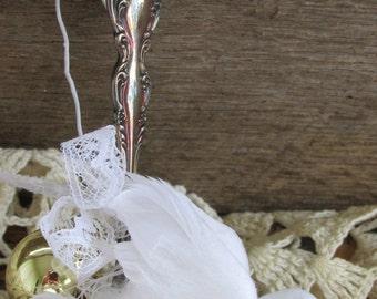 Wedding Dove Ornament, Silver Dove Ornament, Christmas Silver Spoon Ornament