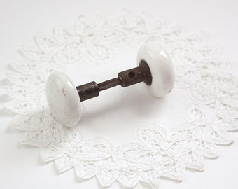 Vintage White Porcelain Door Knobs, Salvaged Door Knobs