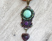 Turquoise and amethyst heart necklace - unique jewelry - turquoise jewelry - southwestern necklace