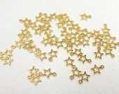 Star Charms 50 pieces 9x8mm open stars two sided flat gold plated alloy craft supply 5 point star celestial charms