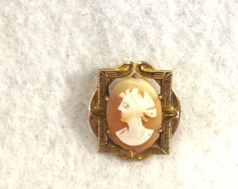 Victorian Cameo Brooch – Antique Collar Pin – Edwardian Jewelry - C Clasp Brooch