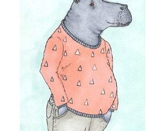 Hippo Art Print, Animal Art Print, Hippo Illustration, Hippopotamus Art, Art Print, Anthropomorphic, Children Art Print, kids Art, hippo art