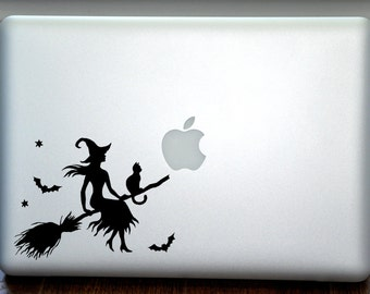 Cute Witch and Cat on a Broom Macbook Vinyl Sticker Decal Mac Apple Laptop iPad
