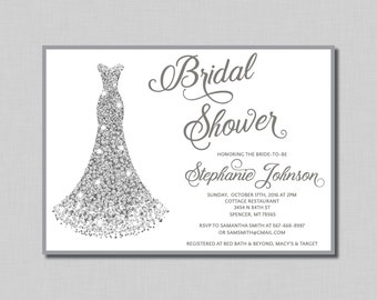 Diamonds Bridal Shower Invitation silver wedding gown Avery BR15 Digital or Printed