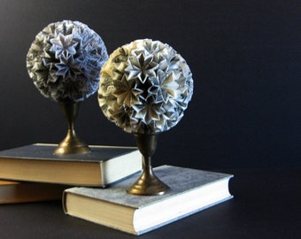 Paper Ball of Stars - Origami Kusudama Ball on Brass Pedestal - Waxed Book Paper Sculpture - Recycled Sheet Music Art - Black and White Art