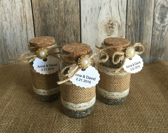 10 Rustic Wedding favors - lavender filled  burlap and lace glass bottles - bridal shower favors with personalized tags.