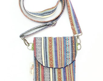 HIP Mini, Small Purse, Cell Phone Case, iPhone Case, Hip Pack, Crossbody Bag, Purse for Traveling, Striped Denim, Vacation Mini Purse